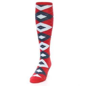 Image of Red Blue Argyle Men's Over-the-Calf Dress Socks (side-2-front-06)