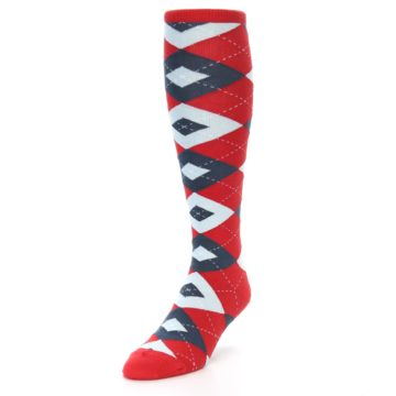Image of Red Blue Argyle Men's Over-the-Calf Dress Socks (side-2-front-07)