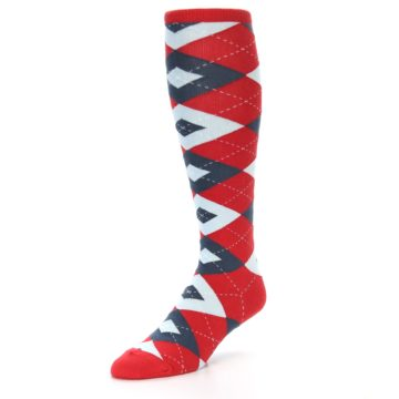 Image of Red Blue Argyle Men's Over-the-Calf Dress Socks (side-2-front-08)