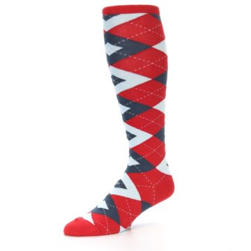 Image of Red Blue Argyle Men's Over-the-Calf Dress Socks (side-2-09)