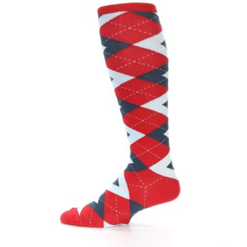Image of Red Blue Argyle Men's Over-the-Calf Dress Socks (side-2-12)