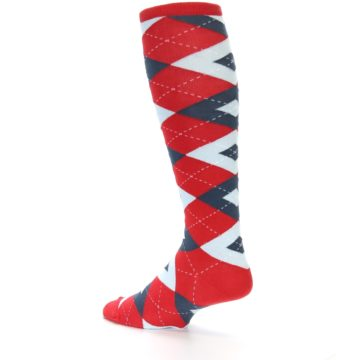 Image of Red Blue Argyle Men's Over-the-Calf Dress Socks (side-2-back-14)