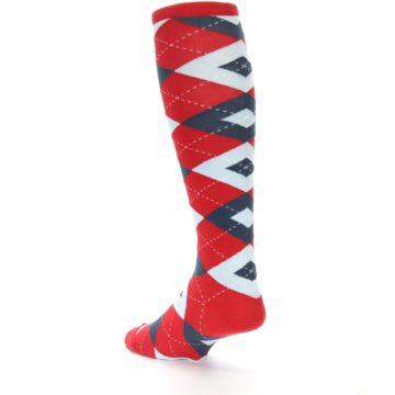 Image of Red Blue Argyle Men's Over-the-Calf Dress Socks (side-2-back-15)