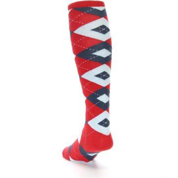 Image of Red Blue Argyle Men's Over-the-Calf Dress Socks (side-2-back-16)