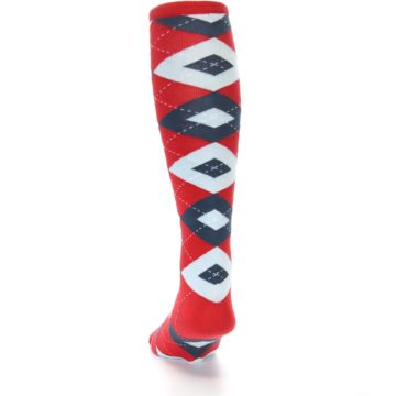 Image of Red Blue Argyle Men's Over-the-Calf Dress Socks (back-17)