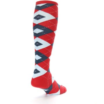 Image of Red Blue Argyle Men's Over-the-Calf Dress Socks (side-1-back-21)