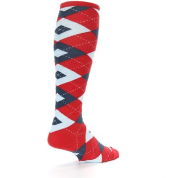 Image of Red Blue Argyle Men's Over-the-Calf Dress Socks (side-1-back-22)