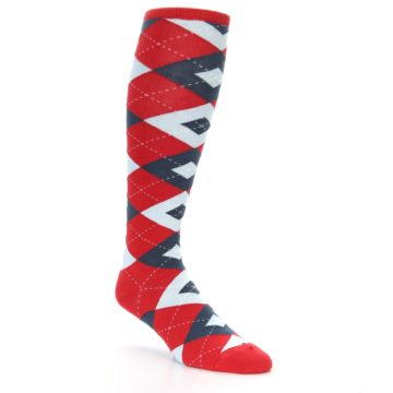 Image of Red Blue Argyle Men's Over-the-Calf Dress Socks (side-1-27)
