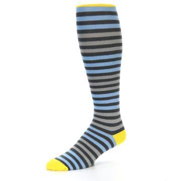 Image of Blue Grey Block Stripe Men's Over-the-Calf Dress Socks (side-2-09)