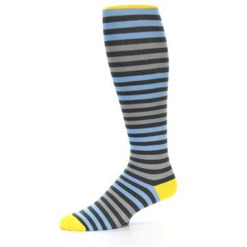 Image of Blue Grey Block Stripe Men's Over-the-Calf Dress Socks (side-2-10)