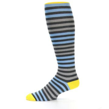 Image of Blue Grey Block Stripe Men's Over-the-Calf Dress Socks (side-2-11)