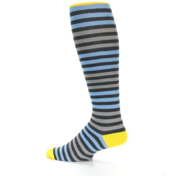 Image of Blue Grey Block Stripe Men's Over-the-Calf Dress Socks (side-2-13)