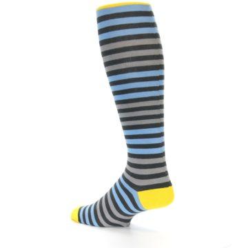 Image of Blue Grey Block Stripe Men's Over-the-Calf Dress Socks (side-2-back-14)