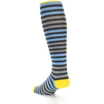 Image of Blue Grey Block Stripe Men's Over-the-Calf Dress Socks (side-2-back-15)