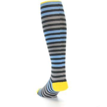 Image of Blue Grey Block Stripe Men's Over-the-Calf Dress Socks (side-2-back-16)