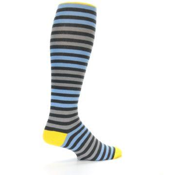 Image of Blue Grey Block Stripe Men's Over-the-Calf Dress Socks (side-1-23)