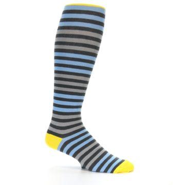 Image of Blue Grey Block Stripe Men's Over-the-Calf Dress Socks (side-1-25)