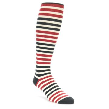 Red Stripe Over the Calf Socks for Men