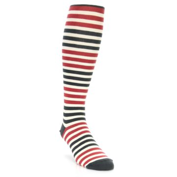 Image of Red Grey Block Stripe Men's Over-the-Calf Dress Socks (side-1-front-02)