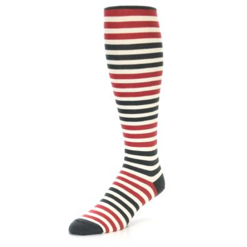 Image of Red Grey Block Stripe Men's Over-the-Calf Dress Socks (side-2-front-08)