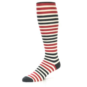 Image of Red Grey Block Stripe Men's Over-the-Calf Dress Socks (side-2-09)