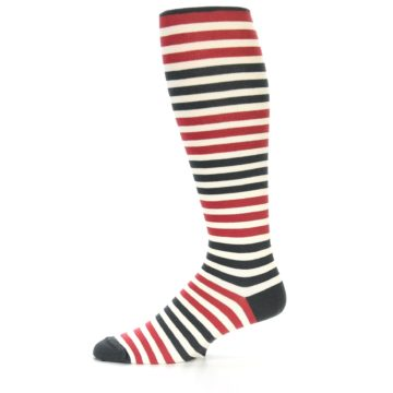 Image of Red Grey Block Stripe Men's Over-the-Calf Dress Socks (side-2-11)