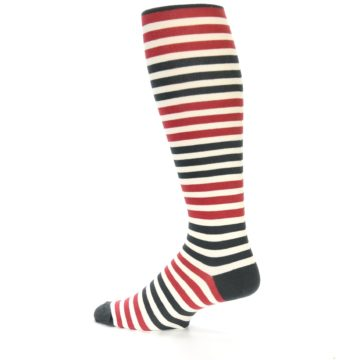 Image of Red Grey Block Stripe Men's Over-the-Calf Dress Socks (side-2-13)