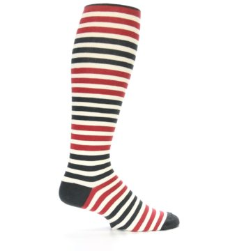 Image of Red Grey Block Stripe Men's Over-the-Calf Dress Socks (side-1-24)
