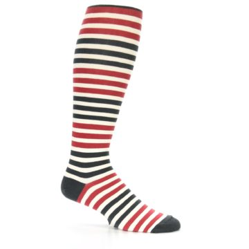 Image of Red Grey Block Stripe Men's Over-the-Calf Dress Socks (side-1-25)
