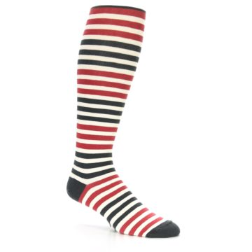 Image of Red Grey Block Stripe Men's Over-the-Calf Dress Socks (side-1-26)
