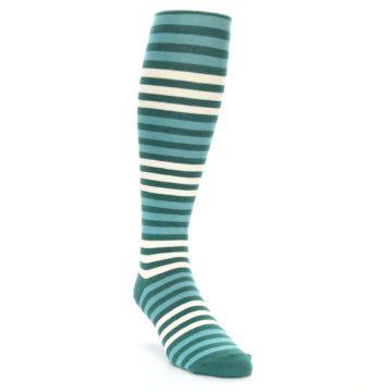 Image of Teal Block Stripe Men's Over-the-Calf Dress Socks (side-1-front-02)