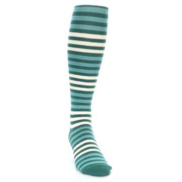 Image of Teal Block Stripe Men's Over-the-Calf Dress Socks (side-1-front-03)