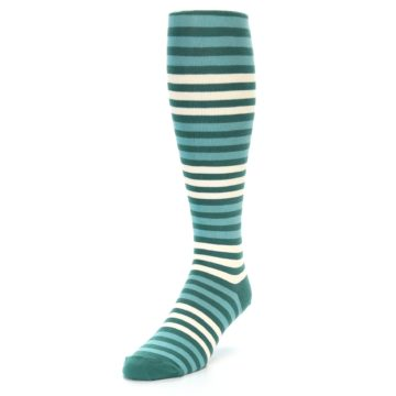 Image of Teal Block Stripe Men's Over-the-Calf Dress Socks (side-2-front-07)