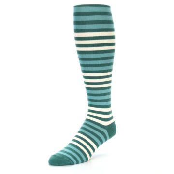 Image of Teal Block Stripe Men's Over-the-Calf Dress Socks (side-2-front-08)