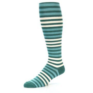 Image of Teal Block Stripe Men's Over-the-Calf Dress Socks (side-2-09)