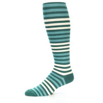 Image of Teal Block Stripe Men's Over-the-Calf Dress Socks (side-2-10)
