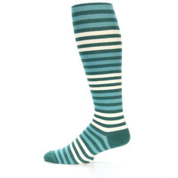 Image of Teal Block Stripe Men's Over-the-Calf Dress Socks (side-2-12)