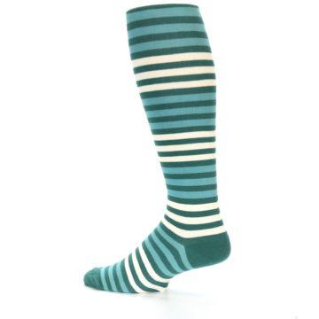 Image of Teal Block Stripe Men's Over-the-Calf Dress Socks (side-2-13)