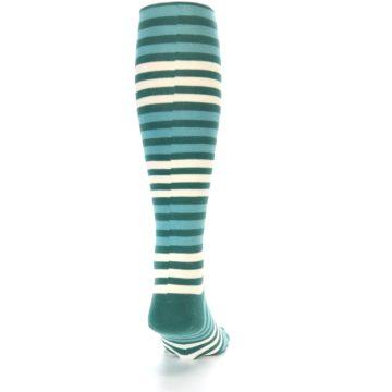 Image of Teal Block Stripe Men's Over-the-Calf Dress Socks (back-19)