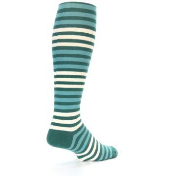 Image of Teal Block Stripe Men's Over-the-Calf Dress Socks (side-1-back-22)
