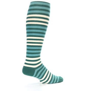 Image of Teal Block Stripe Men's Over-the-Calf Dress Socks (side-1-23)