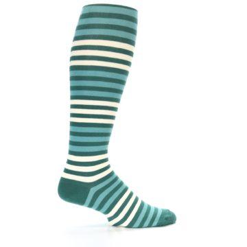 Image of Teal Block Stripe Men's Over-the-Calf Dress Socks (side-1-24)