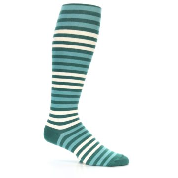 Image of Teal Block Stripe Men's Over-the-Calf Dress Socks (side-1-25)