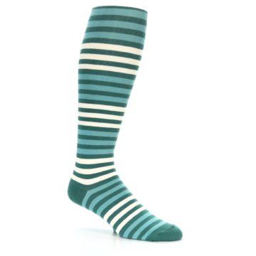 Image of Teal Block Stripe Men's Over-the-Calf Dress Socks (side-1-26)