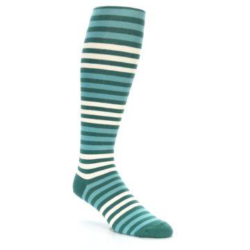 Image of Teal Block Stripe Men's Over-the-Calf Dress Socks (side-1-27)