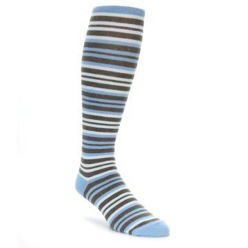 Blue Brown Stripe Over the Calf Socks of Men