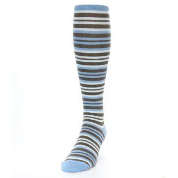 Image of Blue Brown Stripe Men's Over-the-Calf Dress Socks (side-2-front-06)