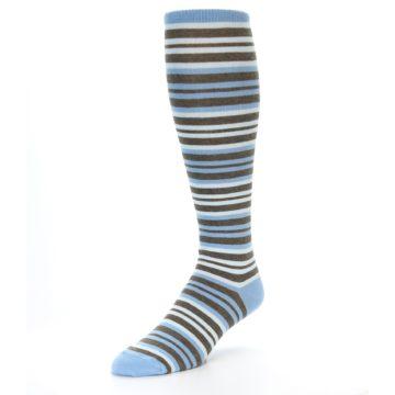 Image of Blue Brown Stripe Men's Over-the-Calf Dress Socks (side-2-front-08)