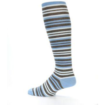 Image of Blue Brown Stripe Men's Over-the-Calf Dress Socks (side-2-13)