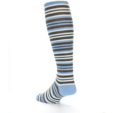 Image of Blue Brown Stripe Men's Over-the-Calf Dress Socks (side-2-back-15)
